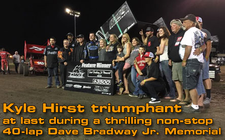 Kyle Hirst triumphant at last during a thrilling non-stop 40-lap Dave Bradway Jr. Memorial