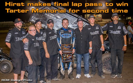 Hirst makes final lap pass to win Tarter Memorial for second time