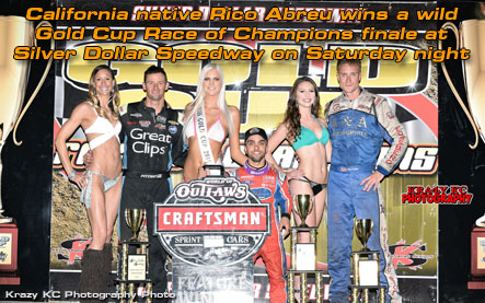 California native Rico Abreu wins a wild Gold Cup Race of Champions finale at Silver Dollar Speedway on Saturday night